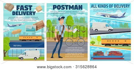 Postal Service Vector Posters Of Post And Mail Delivery Transport. Post Office, Postman And Letters,