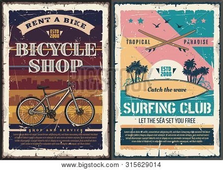 Surfing Club And Bicycle Shop Retro Posters Of Outdoor Activity, Travel, Sport, Tourism And Leisure