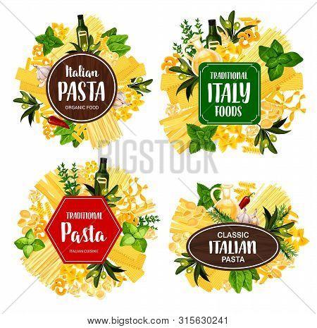 Italian Pasta Food Vector Icons With Spaghetti, Spices, Herbs And Macaroni. Penne, Fusilli And Farfa