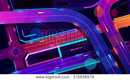 Transport Interchange In Night Neon City Top View. Urban Architecture, Modern Megapolis With Glowing