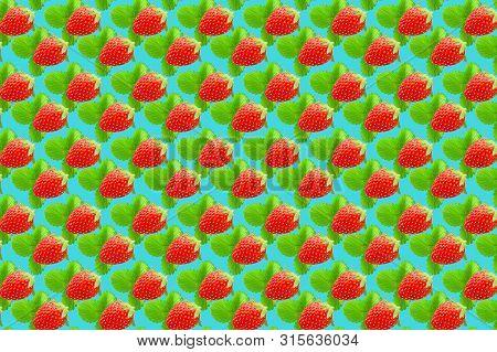 Vivid Fruit Pattern Of Fresh Strawberry On Colourful Background