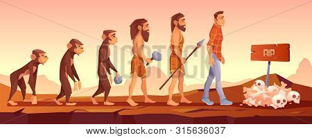 Extinction Of Human Species, Evolution Time Line, Monkey Turn To Upright Homo Sapience, Male Charact