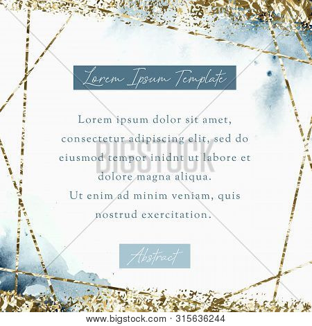 Watercolor Geometric Invitation Template. Abstract Gold Polygonal Geometric Frame With Watercolor Ba
