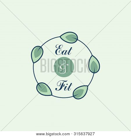 Healthy Food Icon. Round Icon With Inscription In The Center And Leaves Around