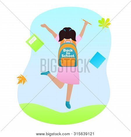 A Girl With A Backpack On Her Back And A Pencil In Her Hand Is Jumping. Back To School Concept.