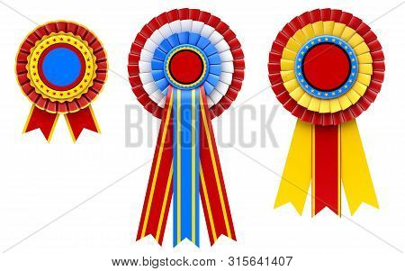 Blank Award Ribbon Rosette Set - 3d Illustration