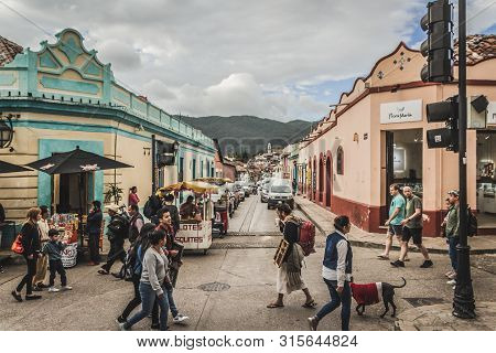 Detail Of The Streets Of Downtown San Cristobal Chiapas Mexico