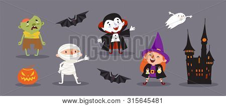 Happy Halloween, A Set Of Cute Characters For Your Festive Design. Witch, Vampire, Mummy, Ghoul, Dea