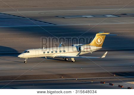 Las Vegas, Nevada, Usa - May 7, 2013: Gulfstream G-v Luxury Business Jet N168ce At Mccarran Internat