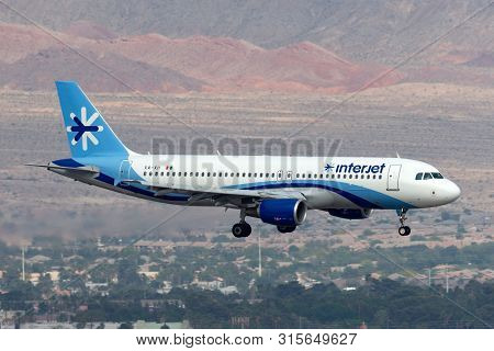 Las Vegas, Nevada, Usa - May 5, 2013: Interjet Airbus A320 Airliner Aircraft On Approach To Land At