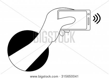 Mobile Payments With Smartphone. Hand From Black Dark Hole. Near Field Communication Payment Termina