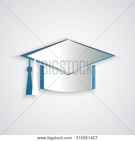 Paper Cut Graduation Cap Icon Isolated On Grey Background. Graduation Hat With Tassel Icon. Paper Ar