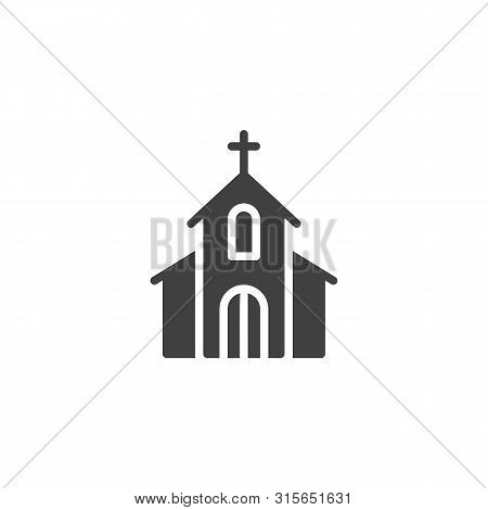 Church With Holy Cross Vector Icon. Filled Flat Sign For Mobile Concept And Web Design. Church Build