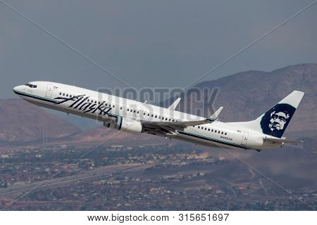 Las Vegas, Nevada, Usa - May 8, 2013: Alaska Airlines Boeing 737-900 Airliner Climbing On Departure