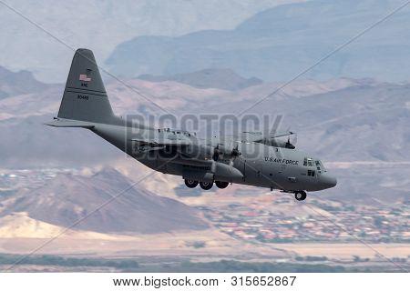 Las Vegas, Nevada, Usa - May 8, 2013: United States Air Force (usaf) Lockheed C-130h Hercules From T