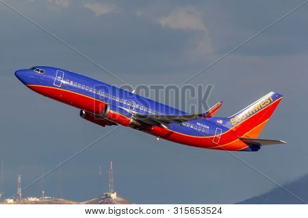 Las Vegas, Nevada, Usa - May 9, 2013: Southwest Airlines Boeing 737 Airliner Taking Off From Mccarra