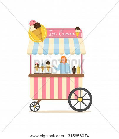 Salesperson In Ice Cream Store Vector, Shop Selling Desserts With Different Flavours And Toppings, W
