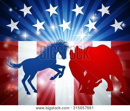 A Donkey And Elephant In Silhouette Charging At Each Other. Mascot Animals Of American Democratic An