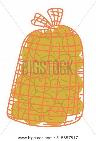 Potato In Burlap Sack, Pile Harvest Product In Bag, Agricultural Work. Packaging Spud, Fresh Rustic