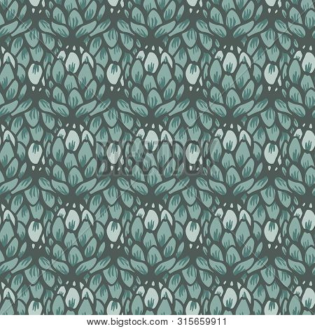 Vector Artichoke Flower Green Monotone Seamless Pattern Background
