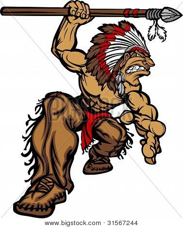 Indian Chief Mascot With Spear And Headdress Vector Illustration