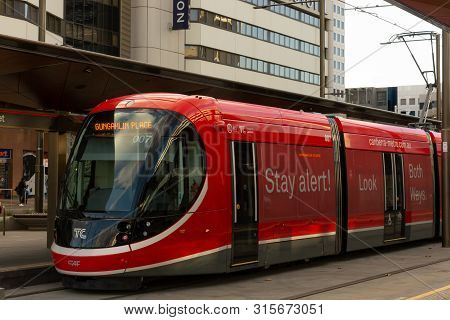 Canberra, Australia - July 3rd 2019: A Light Rail Vehicle In Canberra. Front And Side View Of A Canb