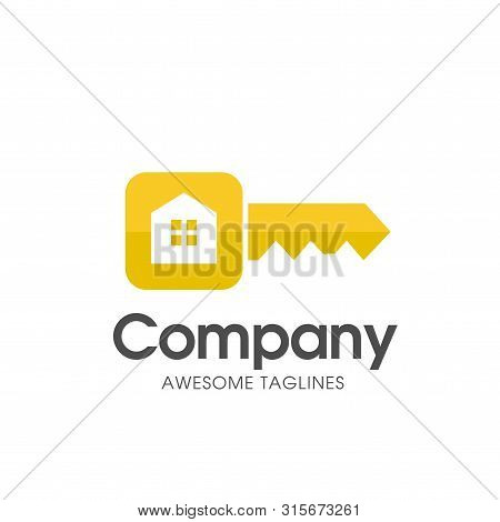 Creative Square Key Of Real Estate Logo With Modern Gold Color Vector,  Key And Real Estate Logo Com