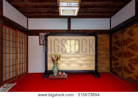 WAKAYAMA, JAPAN, MARCH 28, 2019 : Traditional Japanese interior inside a room of the Kish Toshogu Shrine