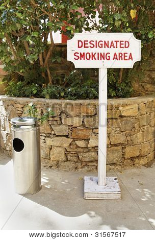 Designated Smoking Area Sign Ashtray