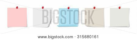 Sticky Notes Vector Collection. Colorful Sticky Paper With Red Pin Isolated On White Background. Pin