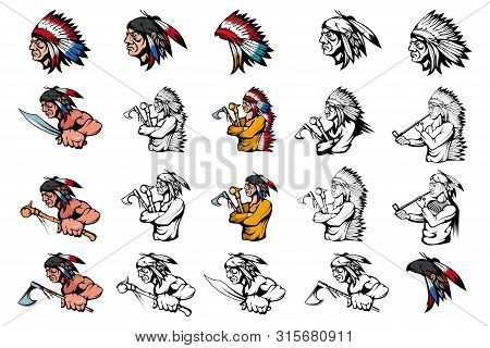 Set Of American Indian Chief In Different Poses. Indian Warrior With A Traditional Weapon. Indians W