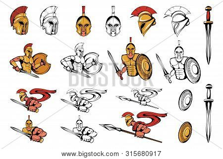 Spartan Warriors In Different Poses. Roman Warrior With A Traditional Weapon. Spartan Warrior In Gol