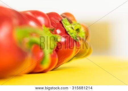 Red Peppers Creative Food Background Healthy Food. Vegetarian Food. Nutritious Food. Vegetable Food.