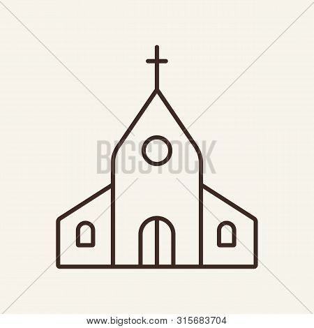 Church Line Icon. Building, Cross, Worship. Religion Concept. Can Be Used For Topics Like Wedding, F