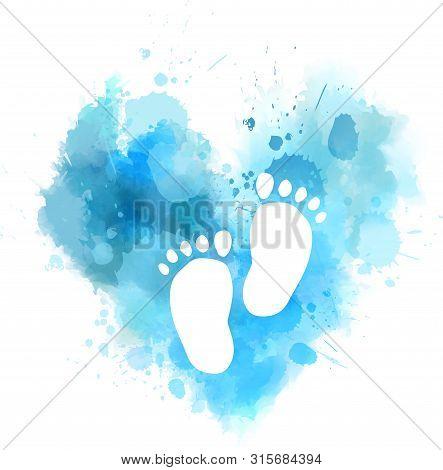 Pregnancy Announcement Concept Illustration. Baby Gender Reveal Concept Illustration. Watercolor Imi