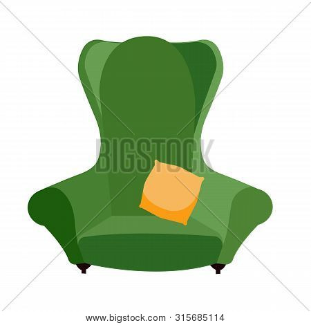 Simple Green Comfortable Armchair With Yellow Pillow. Arty-crafty Vintage Sofa Icon. Isolated Flat C