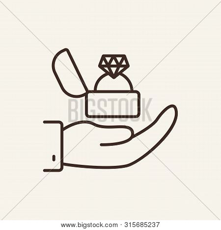 Marriage Proposal Line Icon. Ring, Proposal, Tradition. Wedding Concept. Vector Illustration Can Be