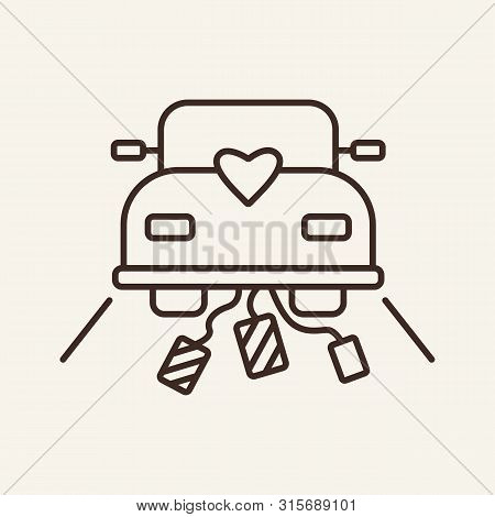 Wedding Car Line Icon. Wedding Journey, Just Married, Honeymoon. Wedding Concept. Vector Illustratio