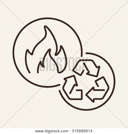Biogas Line Icon. Flame, Recycling, Production. Biofuel Concept. Can Be Used For Topics Like Inciner