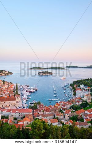 Beautiful View Of The City Of Hvar, Croatia. Harbor Of The Old Adriatic Island