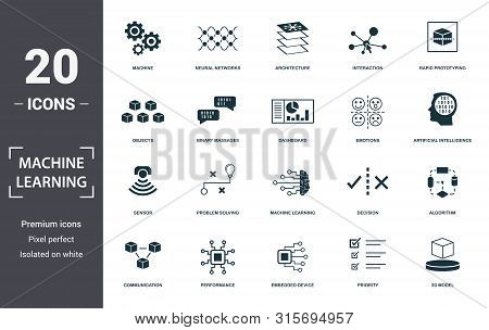 Machine Learning Icon Set. Contain Filled Flat Machine Learning, Problem Solving, Algorithm, Artific