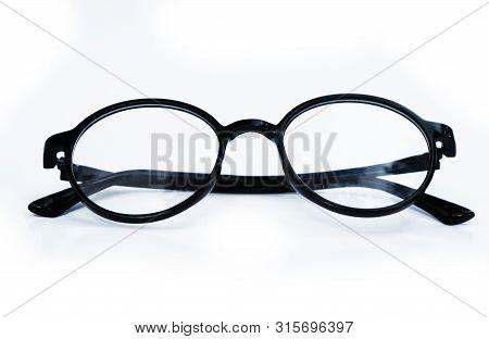 Stylish Black Frame Glasses Isolated On White Background. Black Frame Glasses