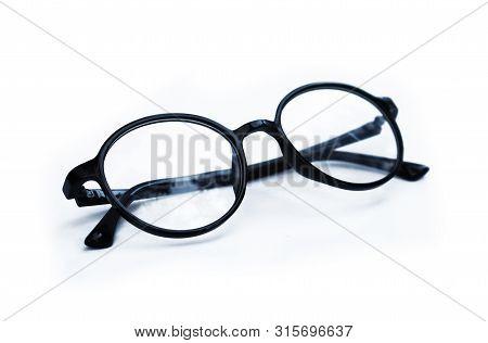 Stylish Black Frame Glasses Isolated On White Background
