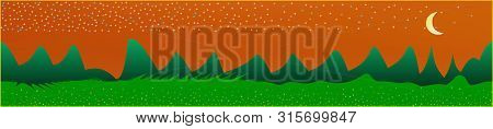 Orange Red Sky, And Mountains Landscape. Wide Horizontal Background. Trendy Modern Skinali Design. P