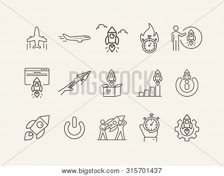 Jet Icons. Set Of Line Icons. Startup, Inspiration, Launch..business Concept. Vector Illustration Ca