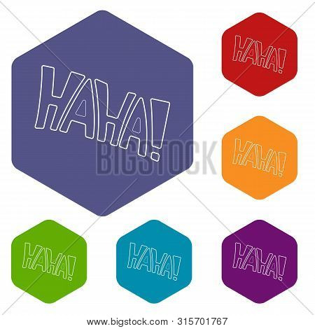 Word Haha Icon In Outline Style Isolated On White Background. Laughter Symbol