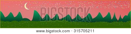 Coral Sky, And Mountains Landscape. Panoramic Horizontal Design. Trendy Panoramic Design. Fresh Glas