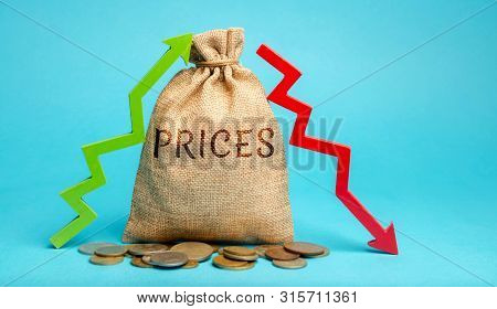 Money Bag With Up And Down Arrows. A Sharp Change In Prices. Destabilization Of Stock Markets. Specu