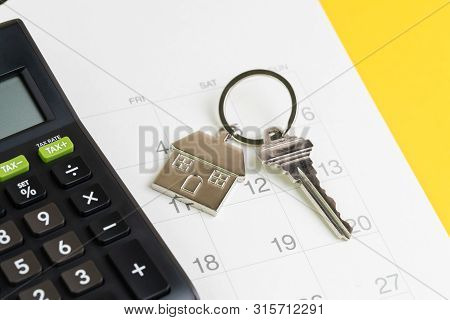 New House Purchase, Mortgage Schedule Reminder Or Real Estate Payment Day, Silver House Keyring With