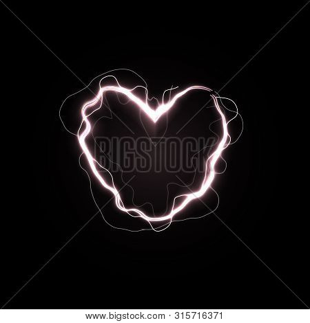 Shining Heart, Love Power Symbol. Electric Line In Heart Shape. Unusual Valentines Day Card With Lig